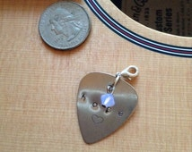 Silver Guitar Pick Charm. Hand Stamped Initial with white/purple Swarovski crystal