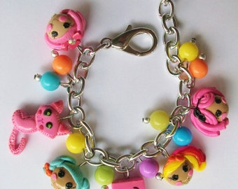 personalized lalaloopsy inspired  charm bracelet