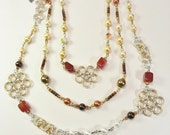 Necklace Gold Silver Flowers Pearls Swarovski Crystal Agate Gifts For Her 403