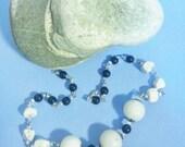 NECKLACE Black Swarovski Pearls White Howlite choker gift