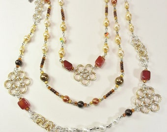 Necklace Gold Silver Flowers Pearls Swarovski Crystal Agate Gifts For Her
