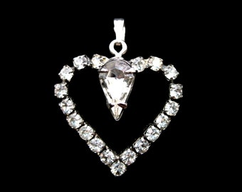 Vintage Rhinestone Heart Pendant with Pear Shaped Center Stone