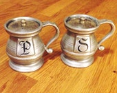 Vintage Pewter Salt & Pepper Shakers, Colonial Style, Gorgeous Patina!