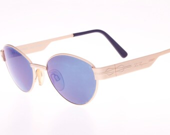 Les Copains made in Italy oval blue mirrored matte gold adorned sunglasses, NOS 1980s