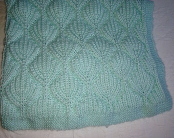 """Hand Knit """"Colors of Tahoe"""" Baby Blanket - Light Mint Green"""