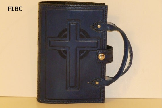 Bible Cover with double cross and aura behind it with optional handles (Custom made for your Bible)