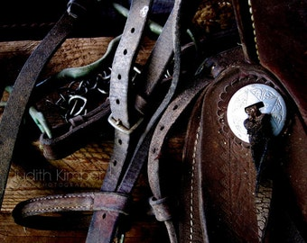 Still Life Photograph - Vintage Saddle Straps Print - Abandoned Stables Art - Riding Photography - Equestrian Art - Gift for Rider