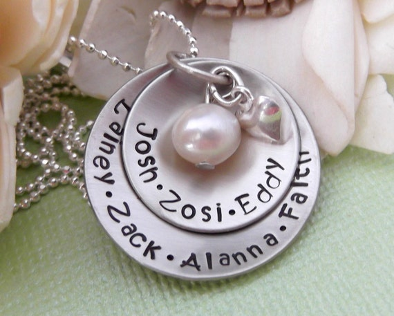 Grandma Necklace- Personalized Mommy Necklace- Hand Stamped Mommy Jewelry- Mother Necklace- Grandma Jewelry- Mother's Day Gift