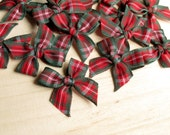 20 Christmas Tartan Ribbon Bows - Red & Green (25mm) - Great for sewing, scrapbooking, card making and Christmas craft projects