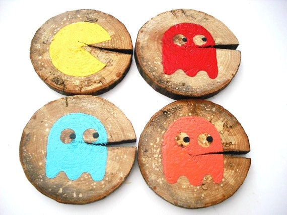 Pacman & Ghosts Retro Handpainted Wood Coaster Set of 4