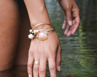 Gold Hammered Stack Rings Trio set of 3 Available in sterling silver