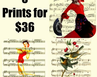6 Prints for 36, Upcycled Page Art Print, Book Art, Dictionary Art, or Music Sheet Art, Book Art, Wall Decor