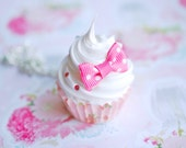 Pink Bow Cupcake Necklace