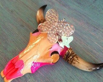 Butterfly Queen Painted Decorative Cow Skull