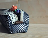 Cute Lace and Polka Dotted Pencil/Makeup Case - AfternoonTee
