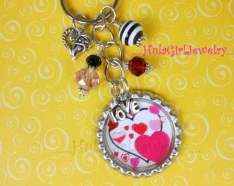 Valentine Love Hearts Love Key Chain, Crystal beads, Bottle Cap KeyChain