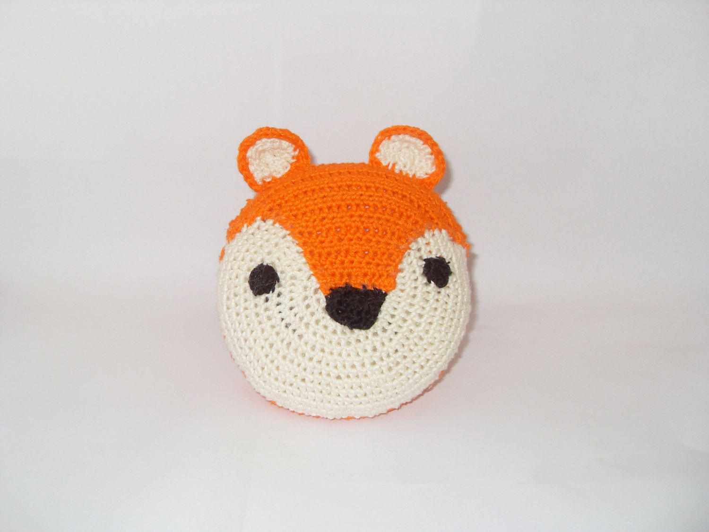 Animal Teddy Pillow : Crocheted amigurumi fox pillow / stuffed animal
