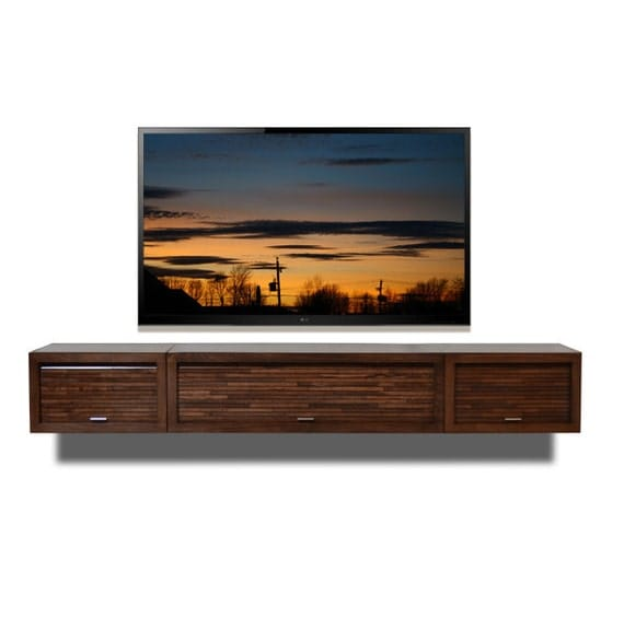 Floating Wall Mount Reclaimed Wood TV Media Console - ECO GEO Mocha