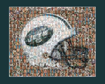 New York Jets Photo Mosaic Print Art Designed Using Over 100 of the Greatest Jet Players of All Time. SALE (Limited Time Only)