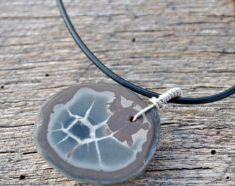 Men's Unique Necklace of Fossilized Mud Cracks Stone on brown rubber cord necklace simple, boho, minimalist