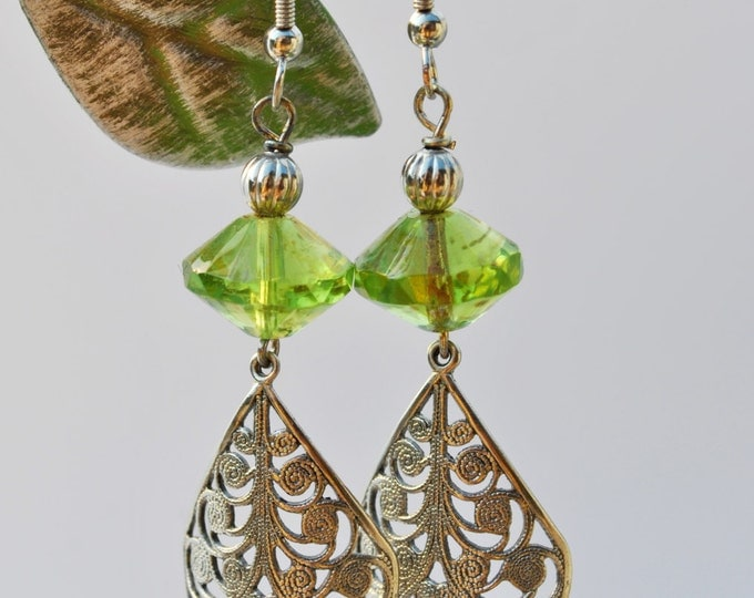 Lime green Czech glass earrings with filagree curved  teardrop dangles