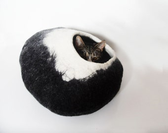 Cat Bed Cat Cave Cat House Cat Igloo Felted Wool Black and White with toy ball for cats