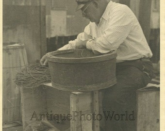 Old fisherman baiting fish traps antique photo by F. J. O'Brien UK