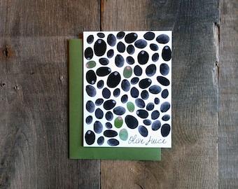 Olive Juice Single Card: Black, White, Olive, Pink