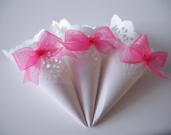 White Lace Paper Wedding Cones with Hot Pink Organza Bow, Set of 20