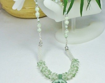 Matte White with Lumi-Green Flowers Kumihimo Necklace, Handmade, SRAJD 3520