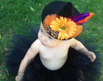 Not So Scary Witch Costume, Black, Orange, or Multi Colored Tutu Costume, Infant Witch Costume, Toddler Witch Costume