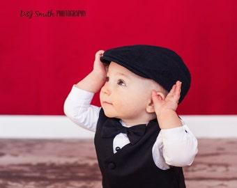 Black baby hat, baby flat cap, baby boy photo prop newsboy hat, black corduroy newsboy cap  - made to order