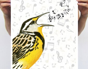 Bird singing: Art Poster Digital Art Original Illustration Giclee Print Wall art Wall Hanging Wall Decor Animal Painting