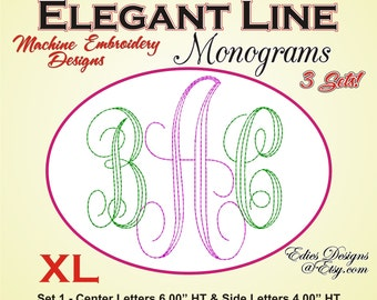 Elegant Lines Monograms BUNDLE XL Machine Embroidery Monogram Fonts Digital Download