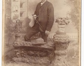 Dapper man with Hat and Cane, Antique Cabinet Card Photograph