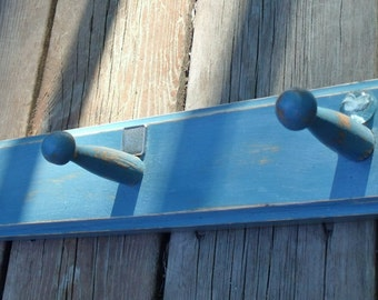 Rustic Wall Rack, Shabby Chic Decor,  Upcycled Repurposed Recycled, Blue Wall Decor