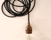 Industrial Bulb, Lamp with long textile cable and metall /brass holder, Bauhaus.