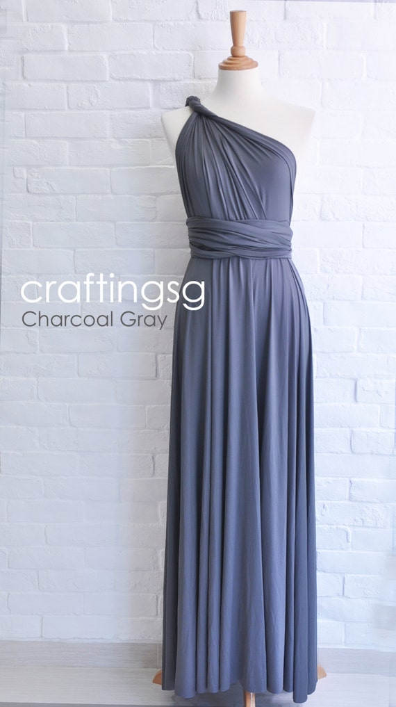 Bridesmaid Dress Infinity Dress Charcoal Grey By Thepeppystudio
