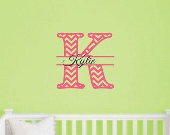 Girls Chevron Wall Decal - Personalized Name Vinyl Decal - Monogrammed Vinyl Wall Lettering - Girl Room Decor - Teen Decor - Baby Nursery