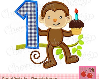 """Moneky number 1 Birthday Machine Embroidery Applique Design for boys -4x4 5x5 6x6"""""""