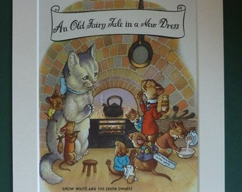 1954 Vintage Snow White & The Seven Dwarfs Print - Snow White Print - Fairytale Art - Cat Print - Mouse Picture - Children's Illustration