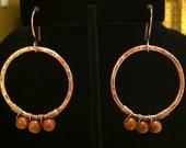 Copper and Goldstone Hoop Earrings ER046