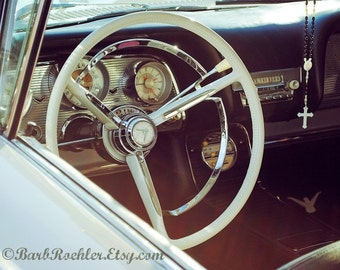 Divine T-Bird - Wall Art -  Retro Print - Vintage Car Photography - Garage Art - Father's Day - Rosary - Steering Wheel - Thunderbird - 8x10