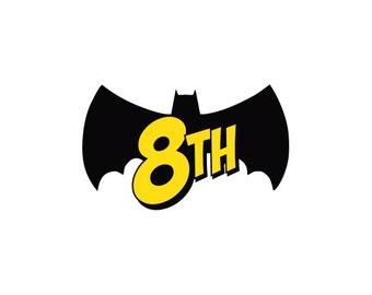 PRINTABLE Bat Number for Superhero Happy Birthday Banner, Party, Comic Sound Effect, Pop Art, Retro, DIY, Print it Yourself