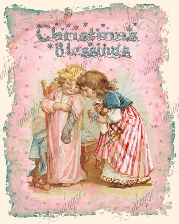 christmas card printable shabby chic children pink art print