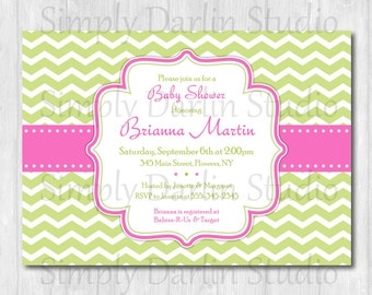 DIGITAL Pink and Green CHEVRON - Baby Shower Bridal Shower or Birthday Invitation Invite GIRL You Print
