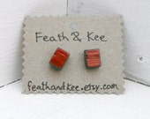 Teal and Copper Cube Earrings Color Block Square Earrings Upcycled Wood Earrings - FeathandKee