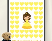 Princess Personalized Birthday Guestbook- 11x14 Print - Girl Birthday - Girl Room Wall Art - Princess Room Decor - Birthday Decoration