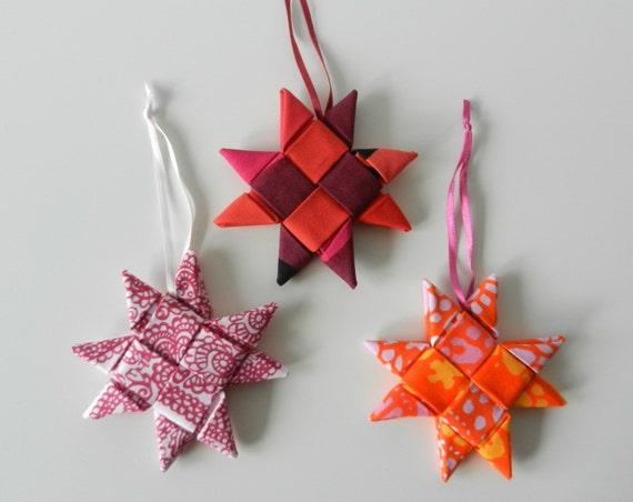 Christmas ornament folded fabric star red marimekko set of