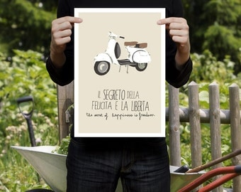 Vespa Scooter Made In Italy Italian Decor Print